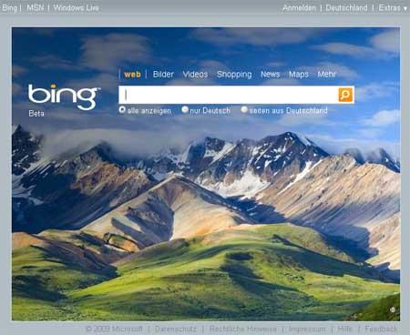 Microsoft Suchmaschine bing