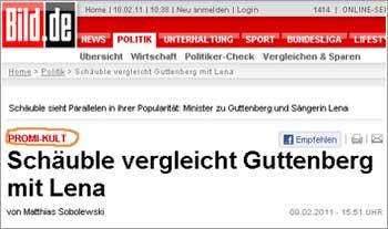 """BILD-Homepage: Lena-Guttenberg-Vergleich ist """"Promi-Kult"""""""