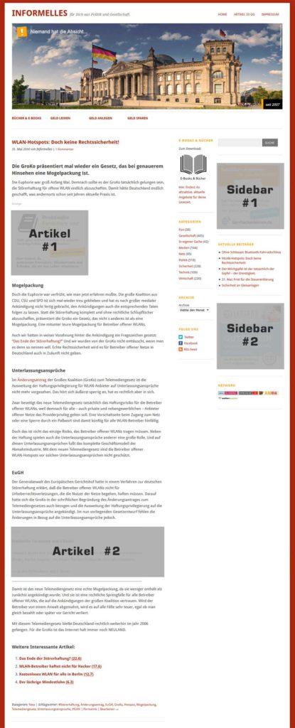 Plätze für Werbebanner auf informelles.de