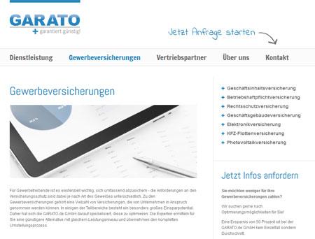 Homepage der Garato.de GmbH