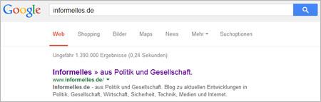Screenshot Suchergebnisse bei Google