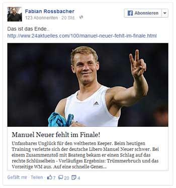 """Fakenews """"Neuer fehlt im Finale"""""""