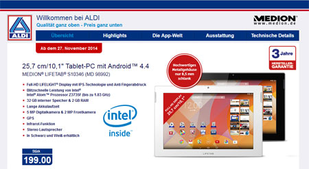 Screenshot ALDI-Homepage Lifetab-Angebot