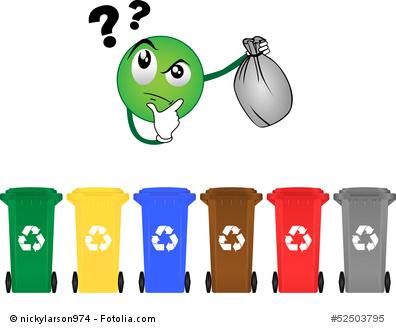 Verschiedene Mülltonnen - ein Fehlwurf ist programmiert