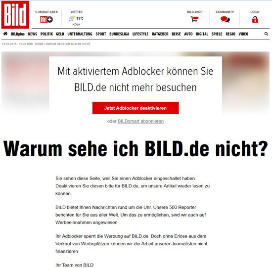 Screeshot von BILD.de mit aktiviertem Adblock Plus